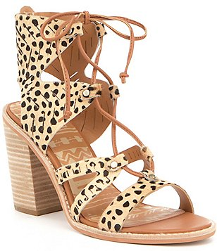 Dolce Vita Luci Calf Hair Lace Up Ghillie Stacked Block Heel Sandals