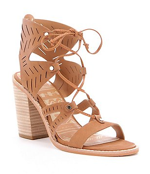 Dolce Vita Luci Lasercut Leather Lace-Up Ghillie Block Heel Sandals