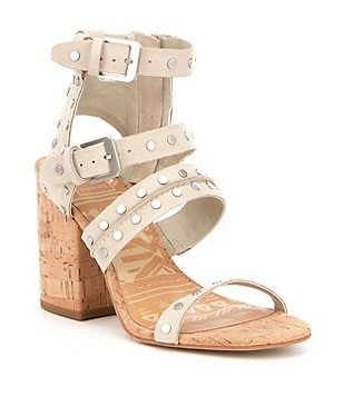 Dolce Vita Effie Nubuck Leather Studded Banded Cork Block Heel Sandals