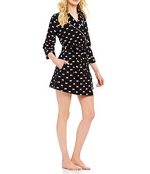 kate spade new york Bow-Print French Terry Wrap Robe