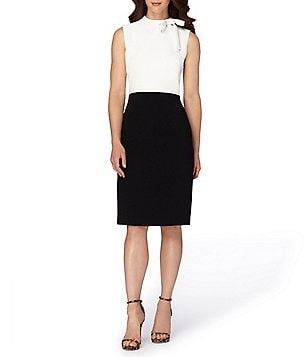 Tahari ASL Petite Bow-Neck Sleeveless Sheath Dress