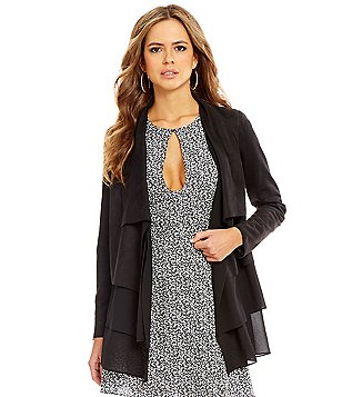 Gianni Bini Ella Open Neck Long Sleeve Draped Faux-Suede Cardigan