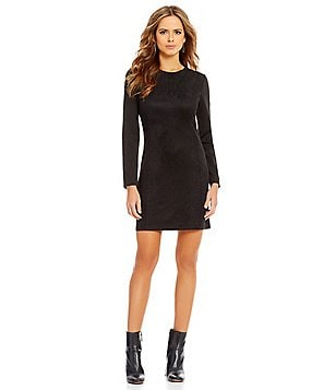 Gianni Bini Nora Long Sleeve Whip Stitch Faux-Suede Sheath Dress