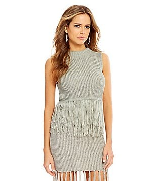 Gianni Bini Cam Round Neck Sleeveless Fringed Sweater Shell