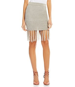 Gianni Bini Cole Fringed Hem Pencil Sweater Skirt