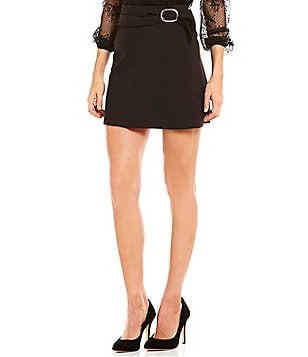 Gianni Bini Pruitt Belted Wrap Solid Mini Skirt