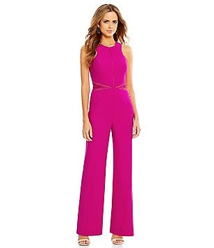Gianni Bini Amanda Halter Neck Wide Leg Sleeveless Solid Jumpsuit