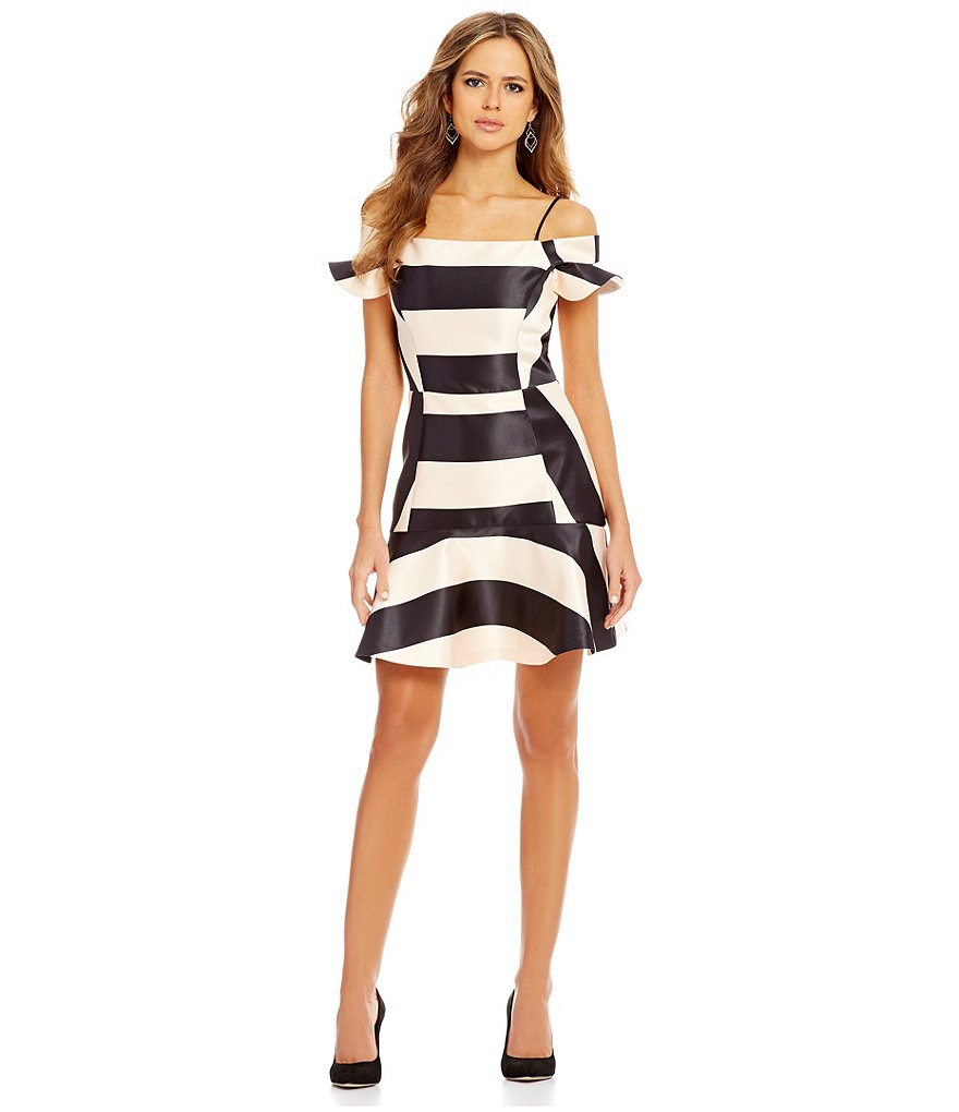 Gianni Bini Constance Off-The-Shoulder Stripe Satin Dress