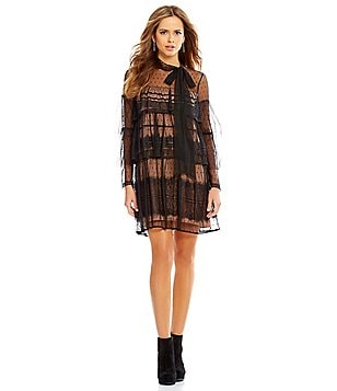 Gianni Bini Miranda Lace/Mesh Tiered Tie-Neck Dress