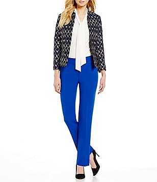 Kasper Stretch Crepe Mandarin-Collar Jacket & Stretch Crepe Solid Pants