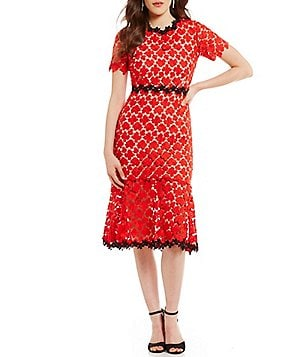 Jill Jill Stuart Floral Lace Open-Back Midi Dress