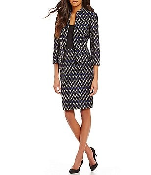 Kasper Chevron-Print Tweed Jacket & Pencil Skirt