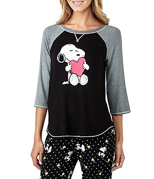 Peanuts Snoopy & Heart Raglan Jersey Sleep Top