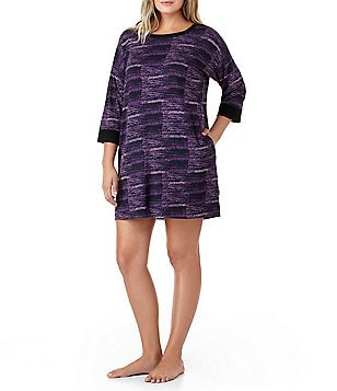 DKNY Plus Abstract-Print Jersey Sleepshirt
