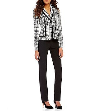 Kasper Plaid Jacquard 2-Button Jacket & Seamed Straight Leg Ankle Pants