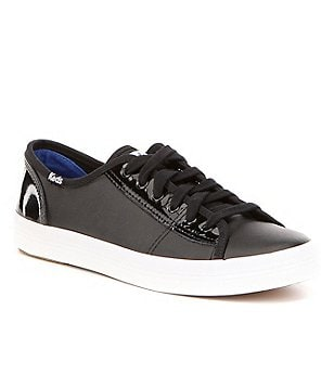 Keds Kickstart Retro Court Patent Leather Lace-Up Flat Sneakers