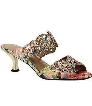 J. Renee Francie Floral Fabric Rhinestoned Banded Dress Sandals