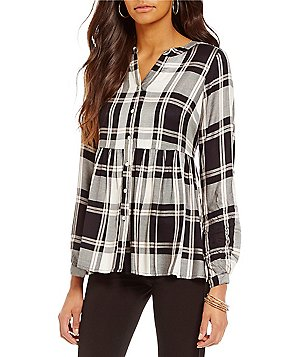 Cupio Plaid V-Neck Roll-Tab Sleeve Peplum Hem Blouse