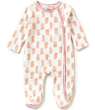 Jessica Simpson Baby Girls Newborn-9 Months Long-Sleeve Pineapple Printed Footed Coverall