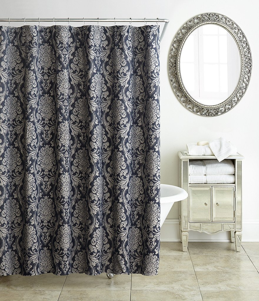Waterford Sinclair Distressed Damask Shower Curtain