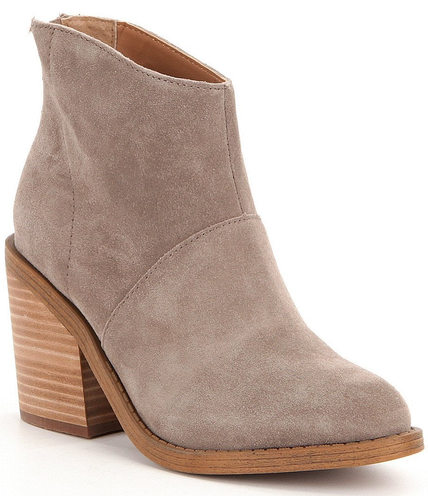 Steve Madden Shrines Suede Zip Closure Stacked Block Heel Booties