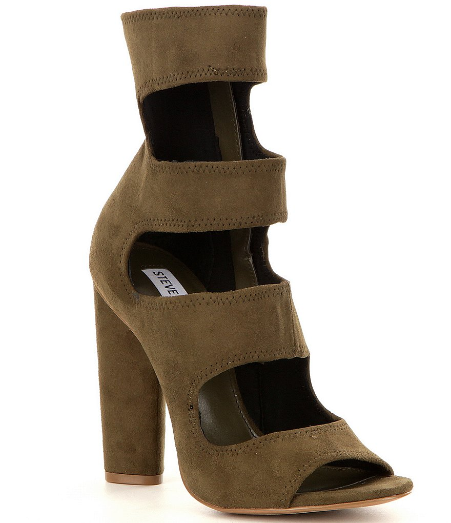 Steve Madden Tawnie Microsuede Unlined Peep Toe Caged Booties