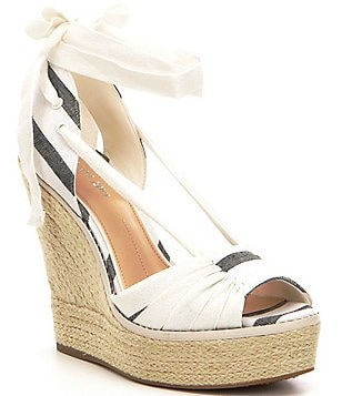 Gianni Bini Raedy Striped Canvas Ankle Tie Espadrille Wedge Sandals