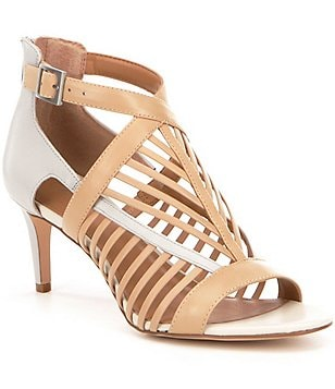 Calvin Klein Camella Leather Caged Two-Toned Dress Sandals