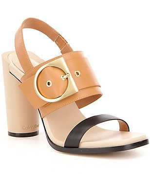 Calvin Klein Aliya Leather Color Block Slingback Banded Block Heel Sandals