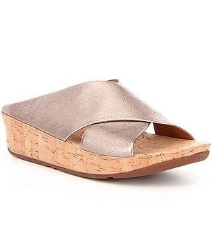FitFlop Kys Metallic Leather Criss Cross Cork Wedge Slide On Sandals