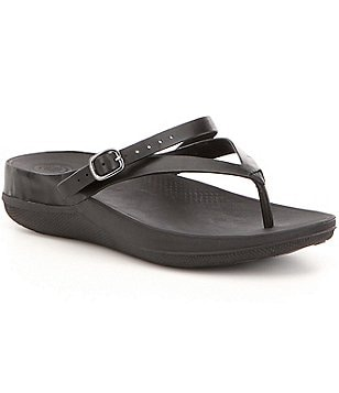 FitFlop Flip Leather Thong Style Pivoting Backstrap Slip On Sandals