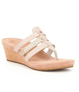 UGG® Maddie Braided Metallic Wedge Sandals