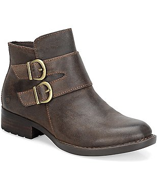 Born Adler Leather Double Buckle Detail Booties