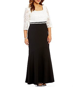 Alex Evenings Plus Embroidered Lace-Bodice Scoop Neck 3/4 Sleeve Two-Tone Gown