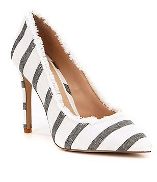 Gianni Bini Dawnatwo Fringed Fabric Striped Pointed-Toe Pumps