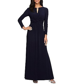 Alex Evenings Petite Long Sleeve Keyhole-Neck with Rhinestone Trim Matte Jersey Gown
