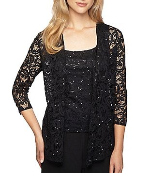 Alex Evenings Petite 3/4 Sleeve Sequined Illusion Neck Twin-Set