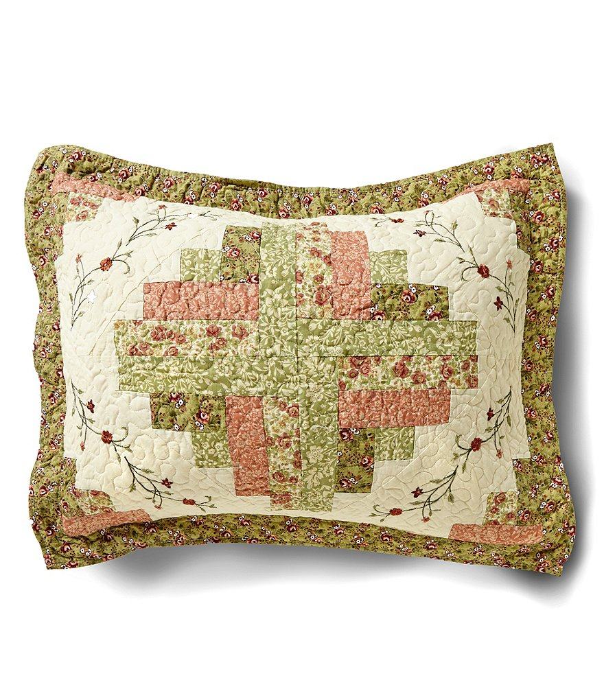Peking Handicraft Pamela Floral Embroidered Quilted Sham