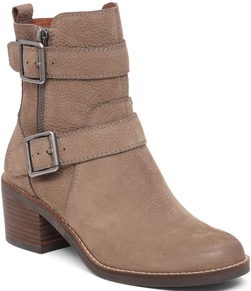 Lucky Brand Castillas Buckle Side Zip Leather Booties