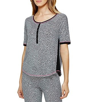Kensie Houndstooth Color Block Jersey Sleep Top
