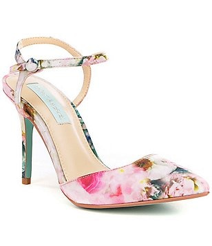 Betsey Johnson Anina Floral Satin Pointed Toe Ankle Strap Pumps