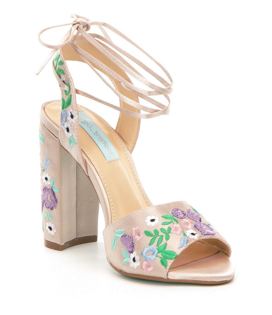 betsey johnson wedding shoes Betsey Johnson Raine Satin Floral Embroidered Ankle Tie Dress Sandals