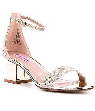 Betsey Johnson Ice Foil Banded Ankle Strap Block Heel Dress Sandals