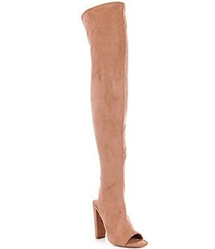 Steve Madden Kimmi Heel Cut Out Over The Knee Open Toe Boots