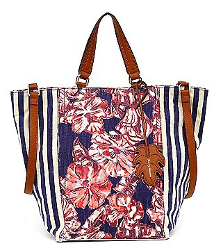 Tommy Bahama Coral Reef Striped & Floral Linen Convertible Tote
