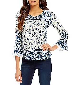 Figueroa & Flower V-Neck Long Ruffle Sleeve Printed Peasant Blouse