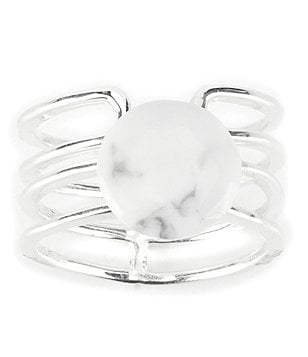 Barse Sterling Silver & White Howlite Ring