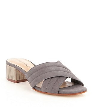 Antonio Melani Juden Block Heel Kidsuede-Leather Slip-On Sandals