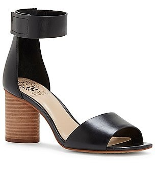 Vince Camuto Jacon Leather Banded Ankle Strap Circular Heel Sandals