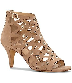 Vince Camuto Mallena Leather Grommet & Stud Kitten Heel Sandals